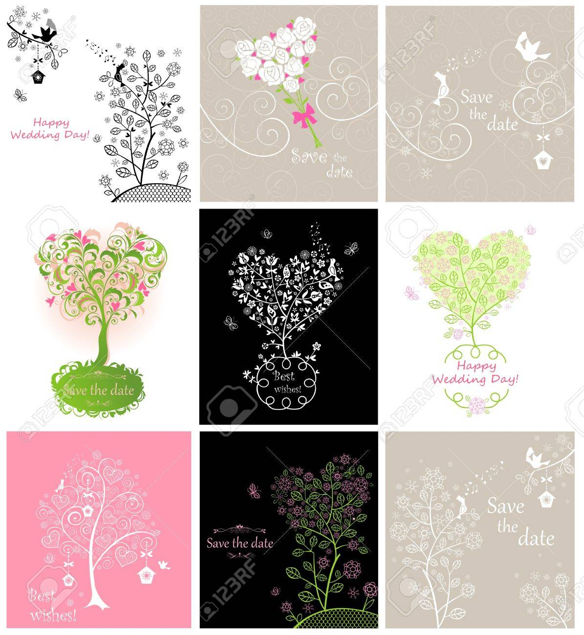 Collection of wedding vintage greeting cards with pair of lovely collection of wedding vintage greeting cards with pair of lovely birds stock vector 53560175 m4hsunfo