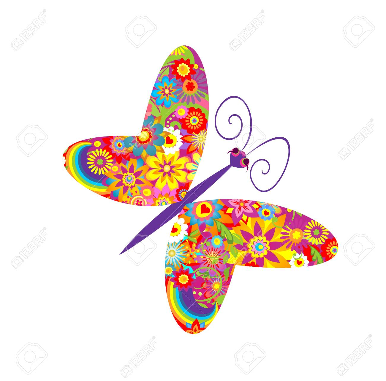 Flowers Print With Funny Colorful Butterfly Royalty Free Cliparts