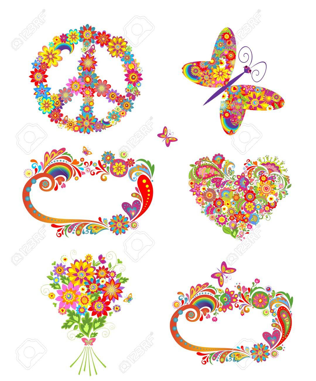 Fiori Hippie.Flowers Greetings And Hippie Elements Royalty Free Cliparts