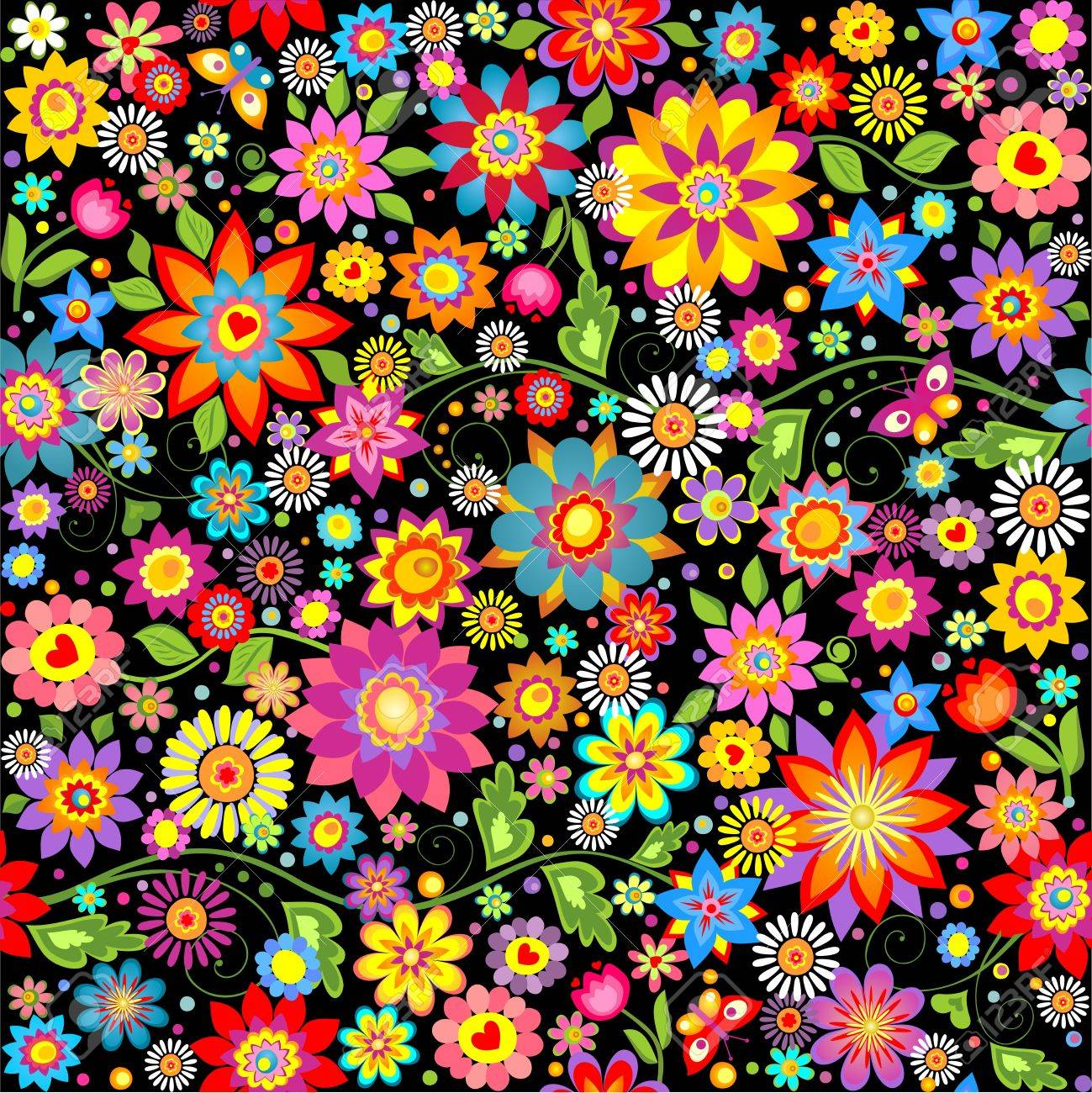 Wallpaper With Abstract Funny Colorful Flowers Royalty Free Cliparts Vectors And Stock Illustration Image