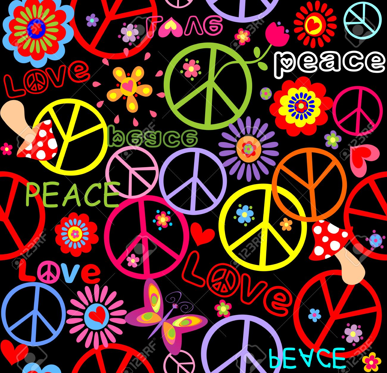 平和のシンボル キノコ 抽象の花でヒッピーの壁紙のイラスト素材