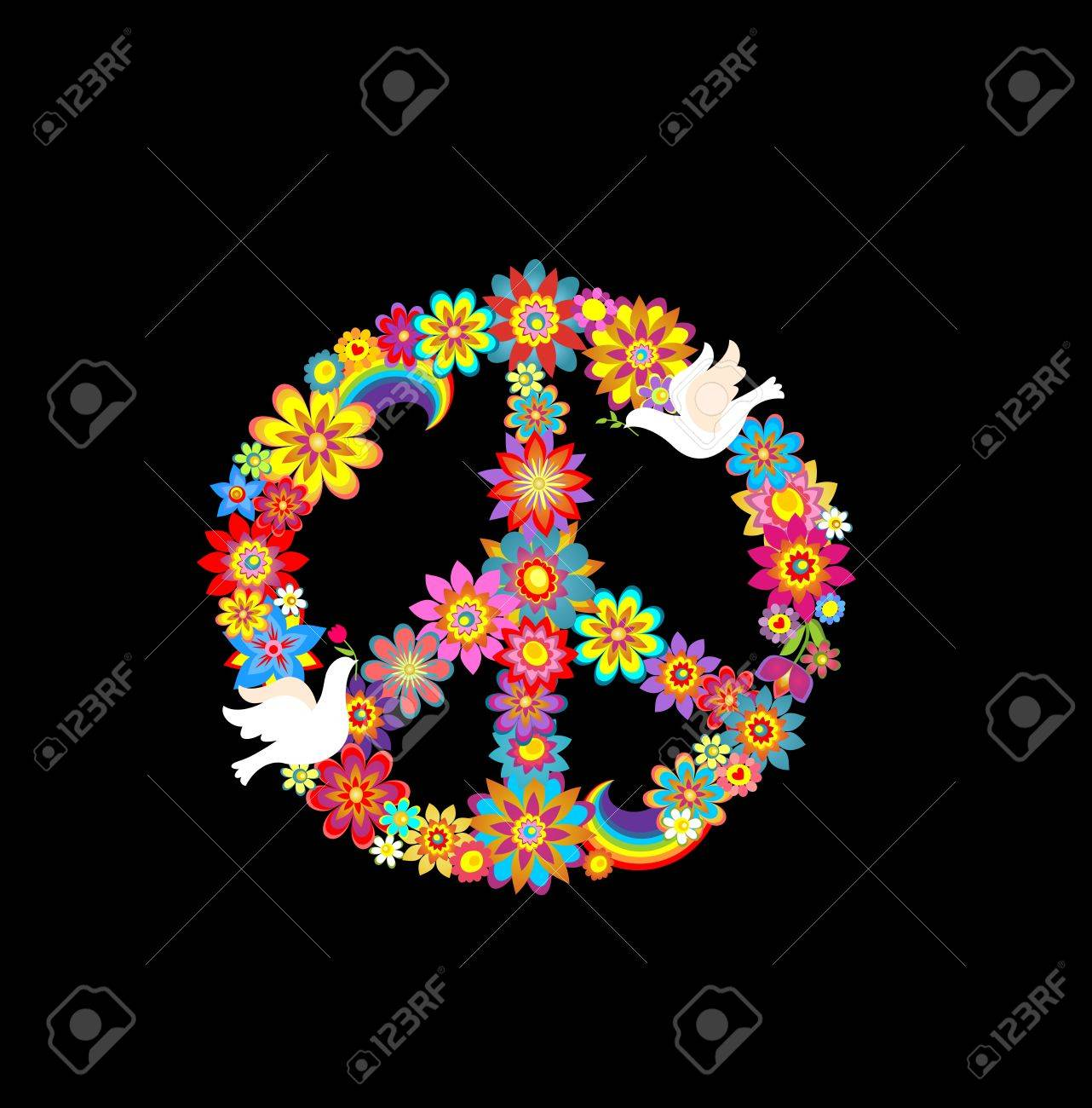Peace flower symbol with paper doves royalty free cliparts vectors peace flower symbol with paper doves stock vector 57525533 biocorpaavc Images