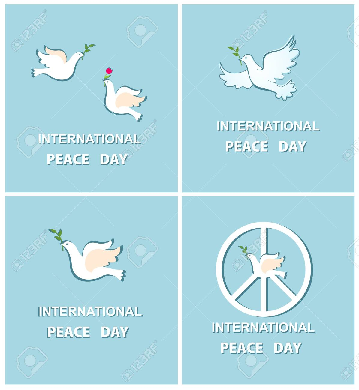 Set of greeting cards with doves for international peace day royalty set of greeting cards with doves for international peace day stock vector 59596532 m4hsunfo