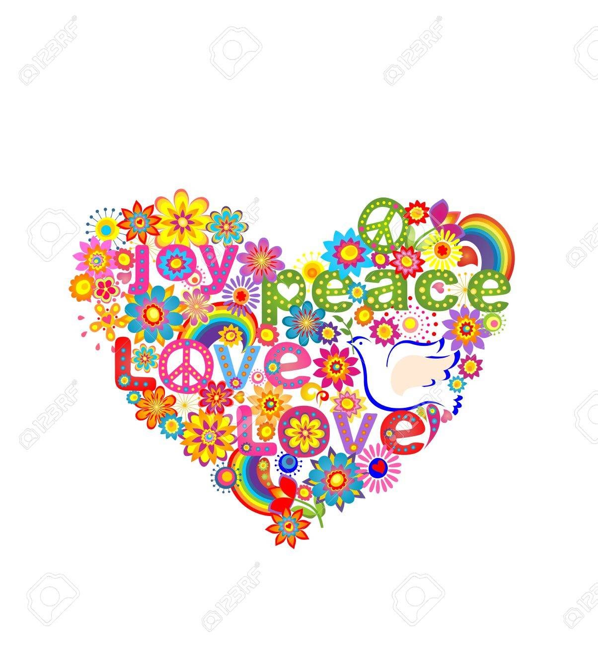 Hippie Heart Print With Dove Peace Symbol And Rainbow Royalty Free