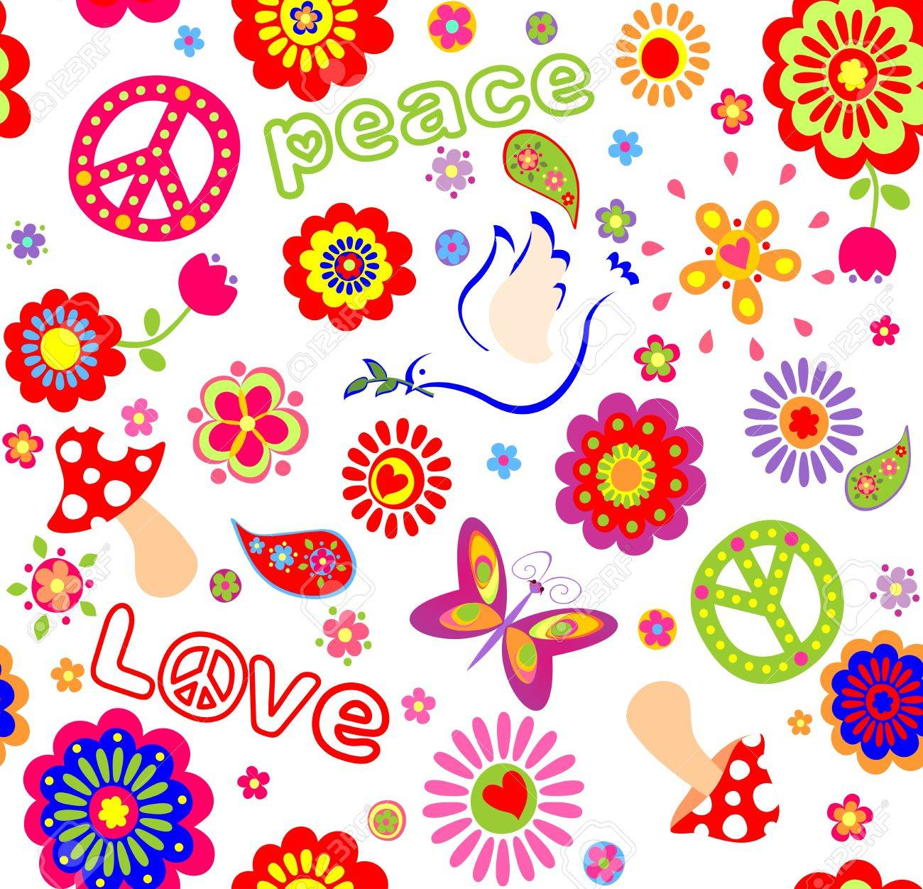 Fiori Hippie.Childish Seamless Wallpaper With Colorful Abstract Flowers Hippie