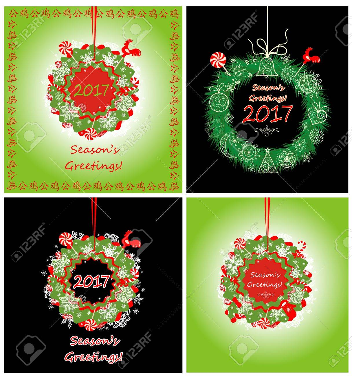 Greeting Cards With Hanging Wreath For New Year Royalty Free