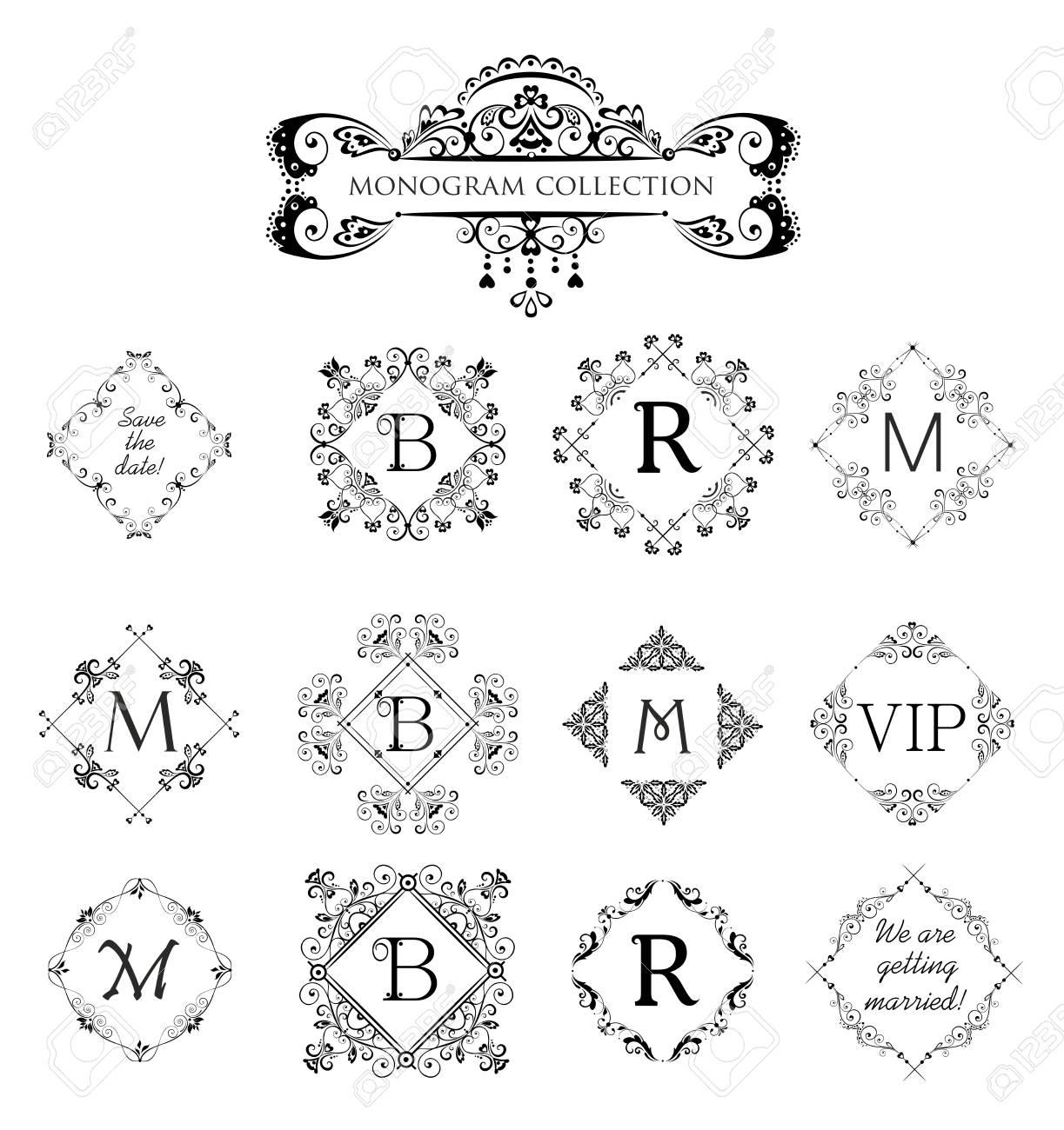 Conjunto De Vectores Marcos Decorativos Para Invitación De Boda ...