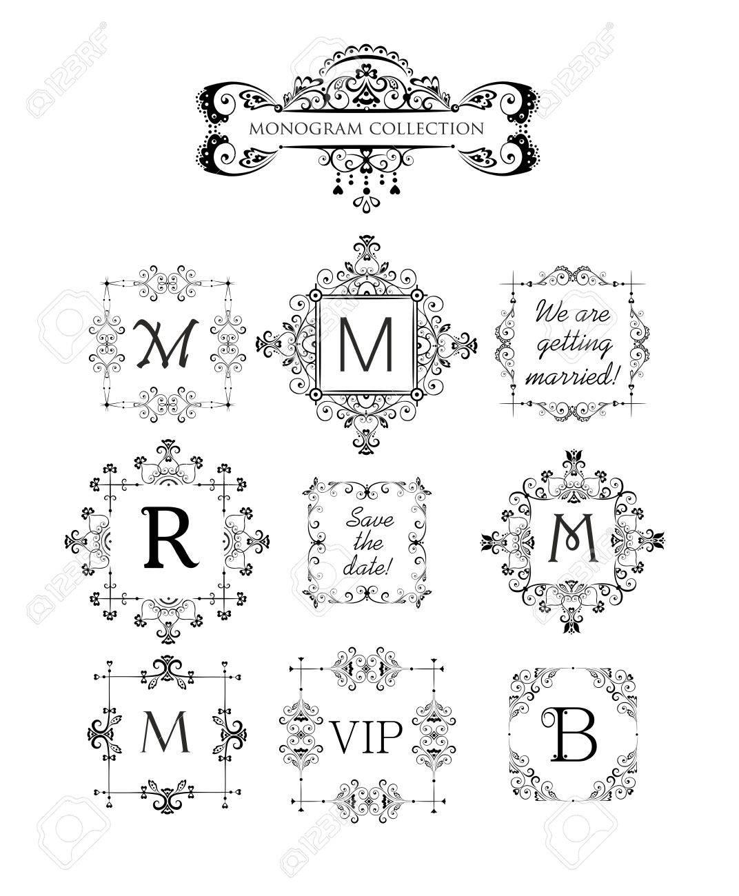 Vector Conjunto De Marcos Decorativos Para La Boda De Invitación Tarjeta De Felicitación De Cumpleaños Viñeta De Plantilla Monograma Vintage