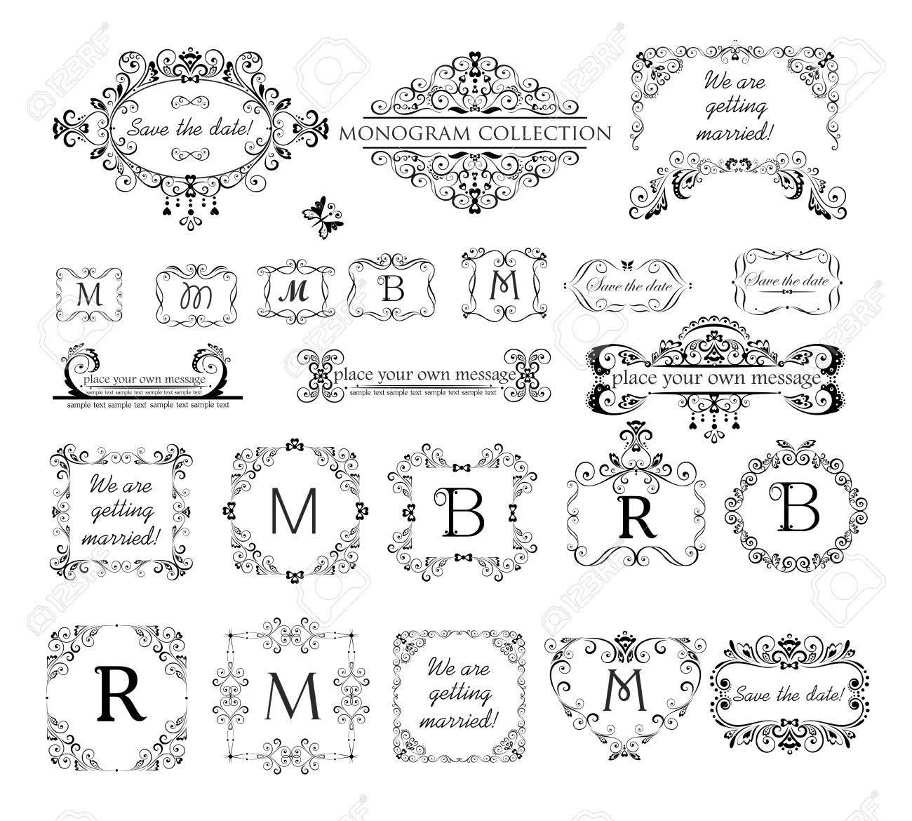 Set Of Vintage Labels, Headers And Frames For Wedding Invitation ...