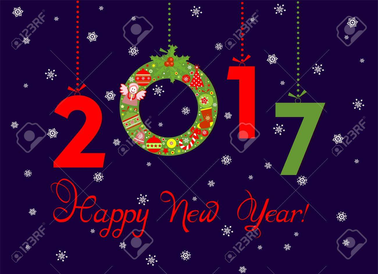 Paper Applique For New Year 2017 Greeting With Hanging Christmas