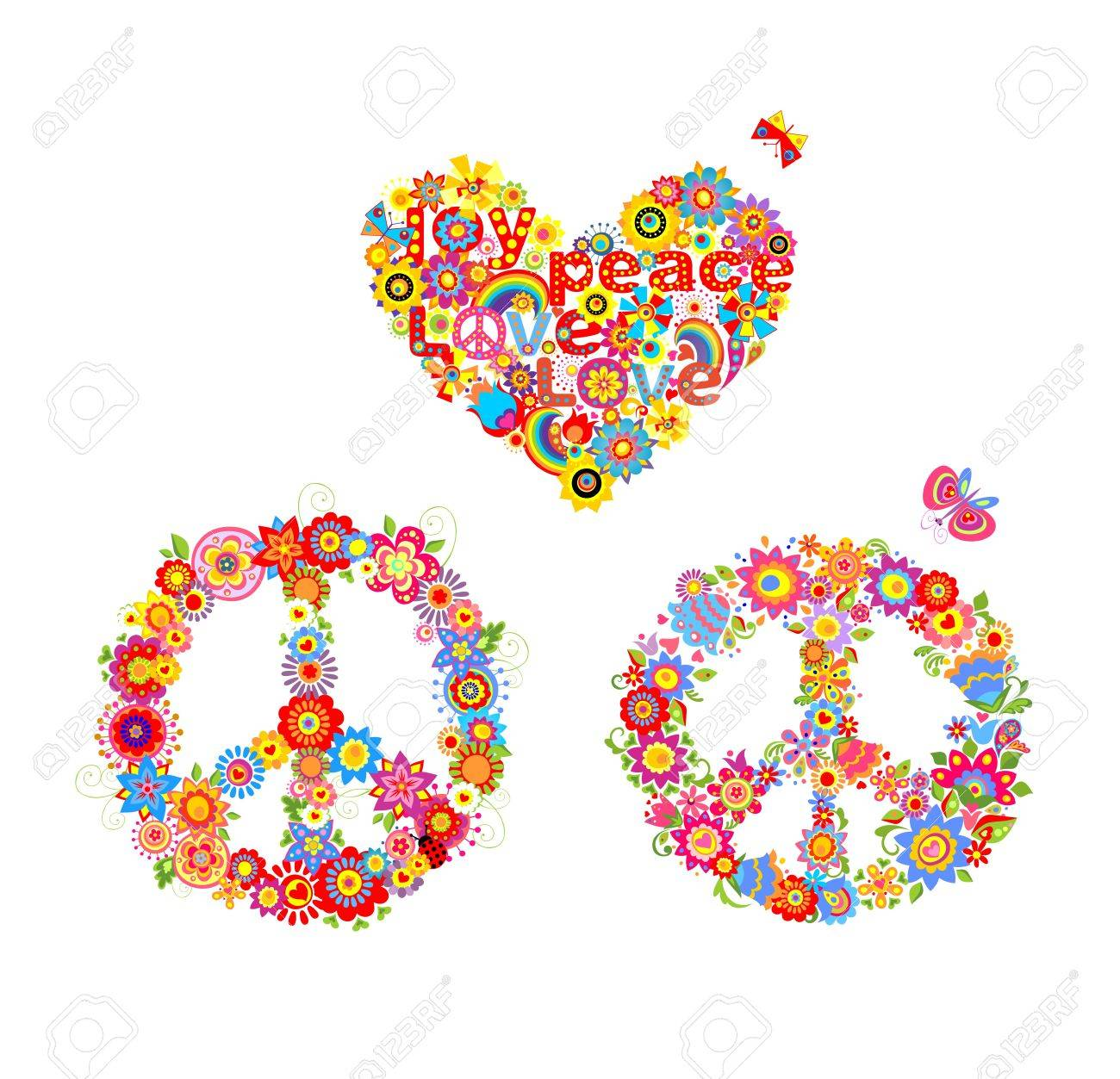 Hippie applique with peace flower symbol and heart flower shape hippie applique with peace flower symbol and heart flower shape with rainbow stock vector 65451849 biocorpaavc Choice Image