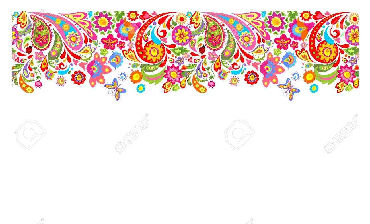 Summery Seamless Border With Decorative Colorful Flowers Print