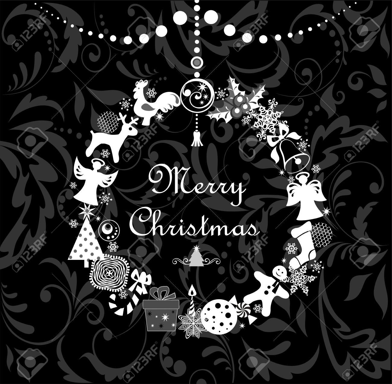Dessin De Salutation Noir Et Blanc Avec Couronne De Noël Drôle
