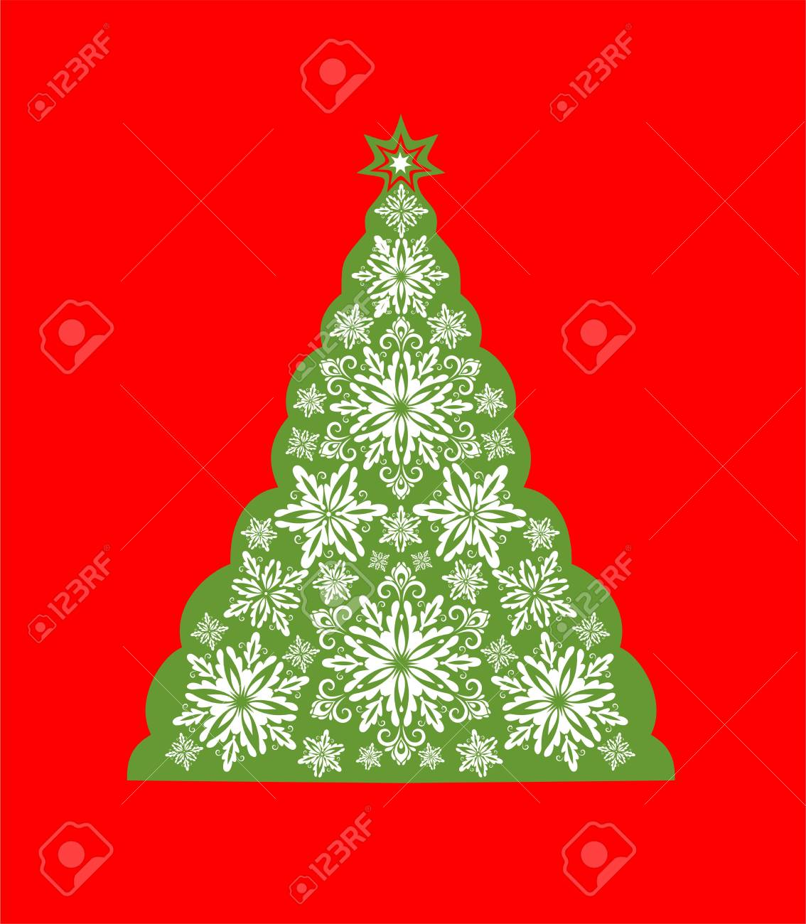 Greeting Card With Cut Out Paper Decorative Snowflakes Xmas Tree