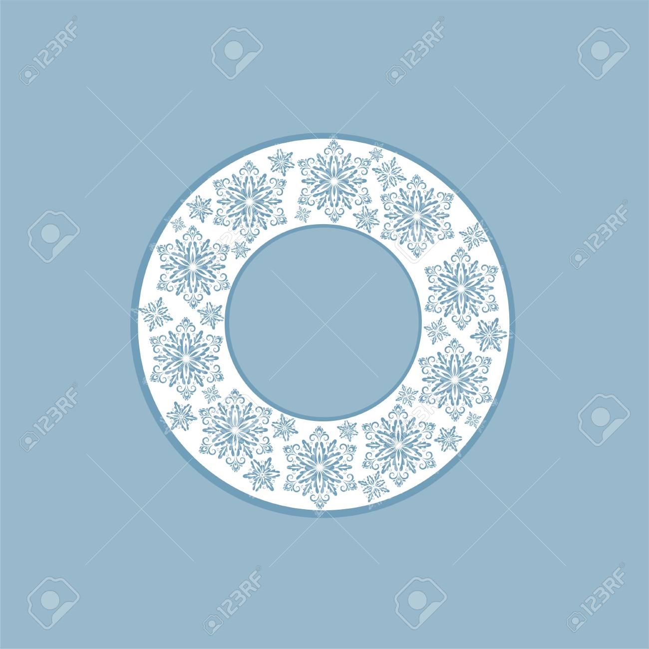 Laser Cut Out Christmas Wreath With Snowflakes. Template For ...