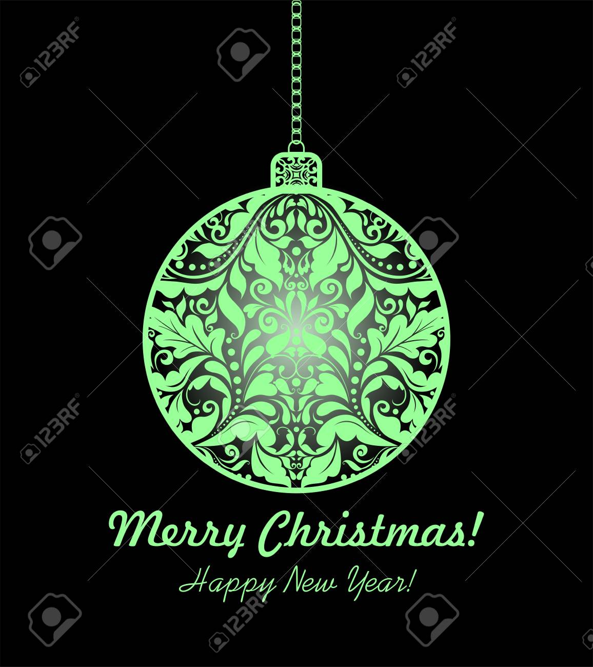 Magic Christmas Card With Hanging Floral Ball Royalty Free Cliparts