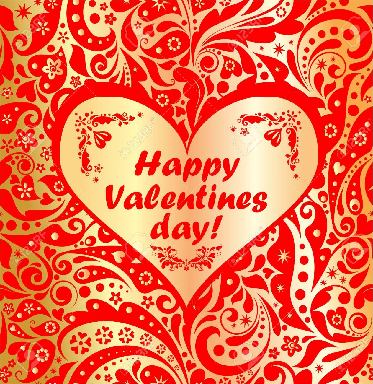 Gruss Fur Valentinstag Auf Luxus Floral Wallpaper Lizenzfrei Nutzbare