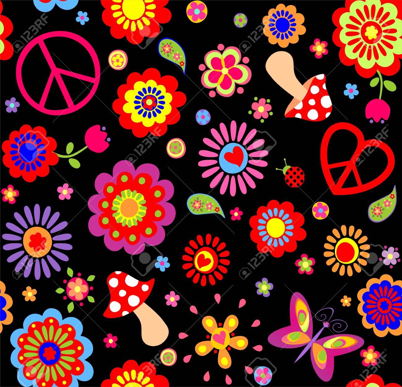 Fondo de flores hippie