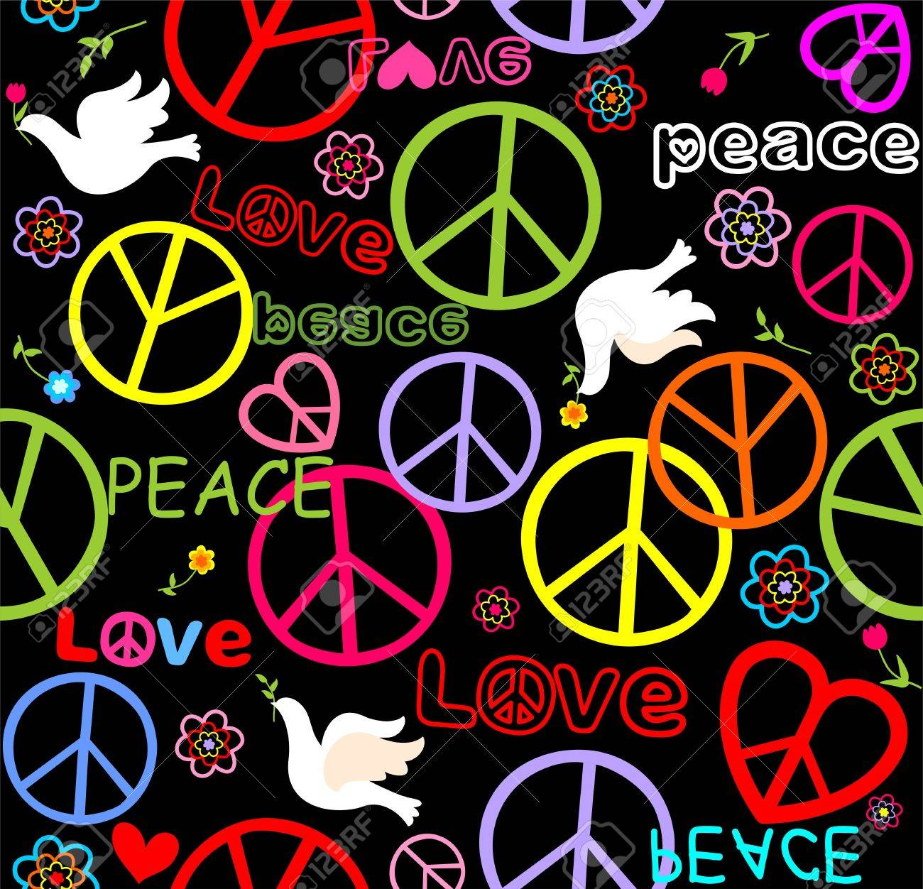 Hippie paper wrapper with peace symbols and doves royalty free hippie paper wrapper with peace symbols and doves stock vector 72778146 biocorpaavc Images