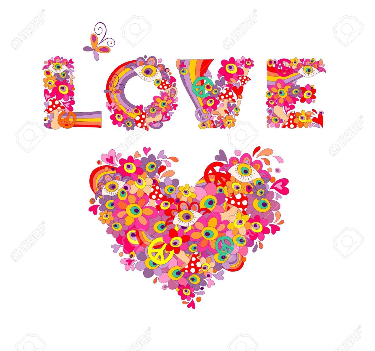 Forma De Corazón Hippie Psicodélica Y Letras De Amor Con Coloridas