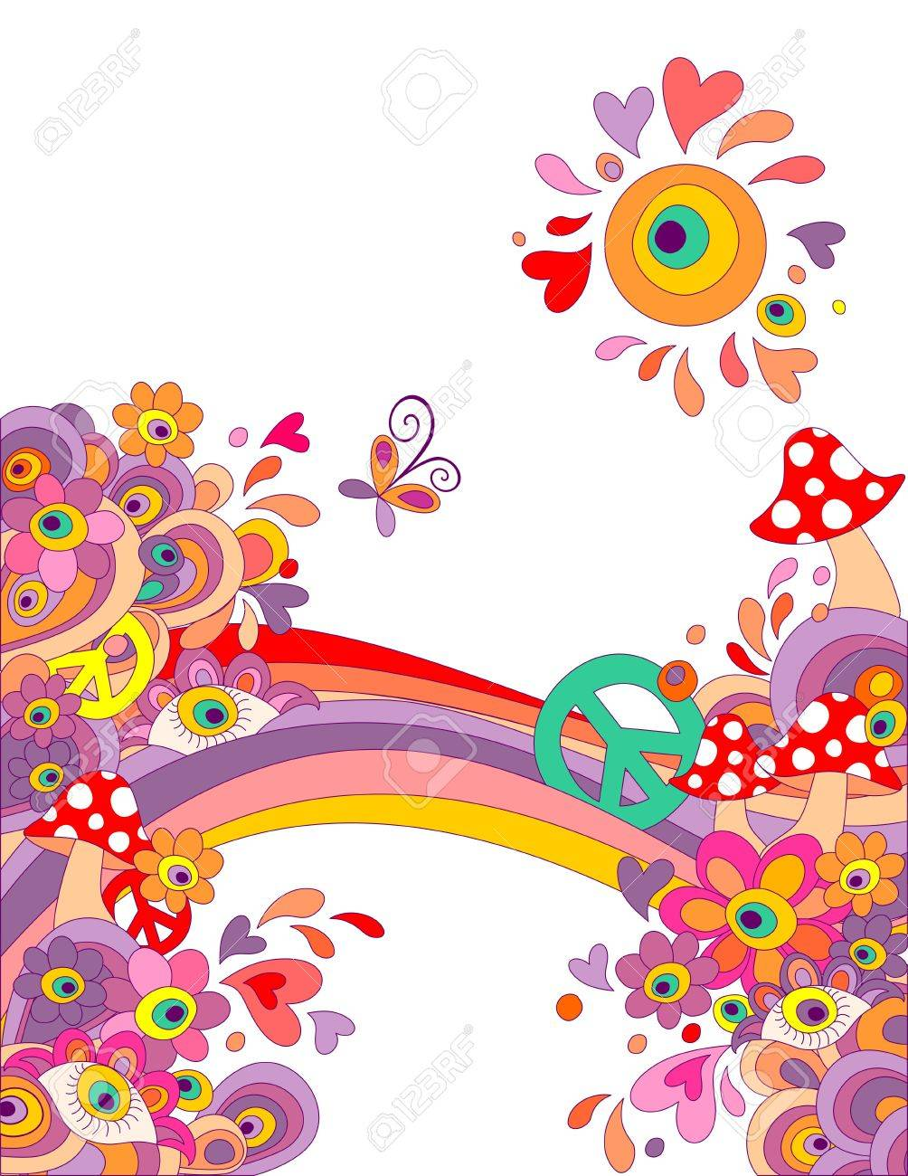 Summery hippie background with abstract colorful flowers mushrooms summery hippie background with abstract colorful flowers mushrooms peace symbol and rainbow stock vector voltagebd Choice Image