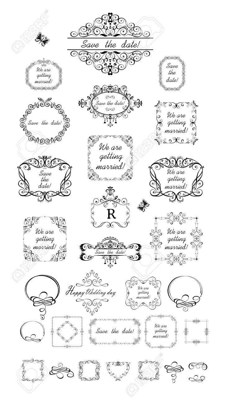 Schöne Hochzeit Vintage Frames Lizenzfrei Nutzbare Vektorgrafiken ...