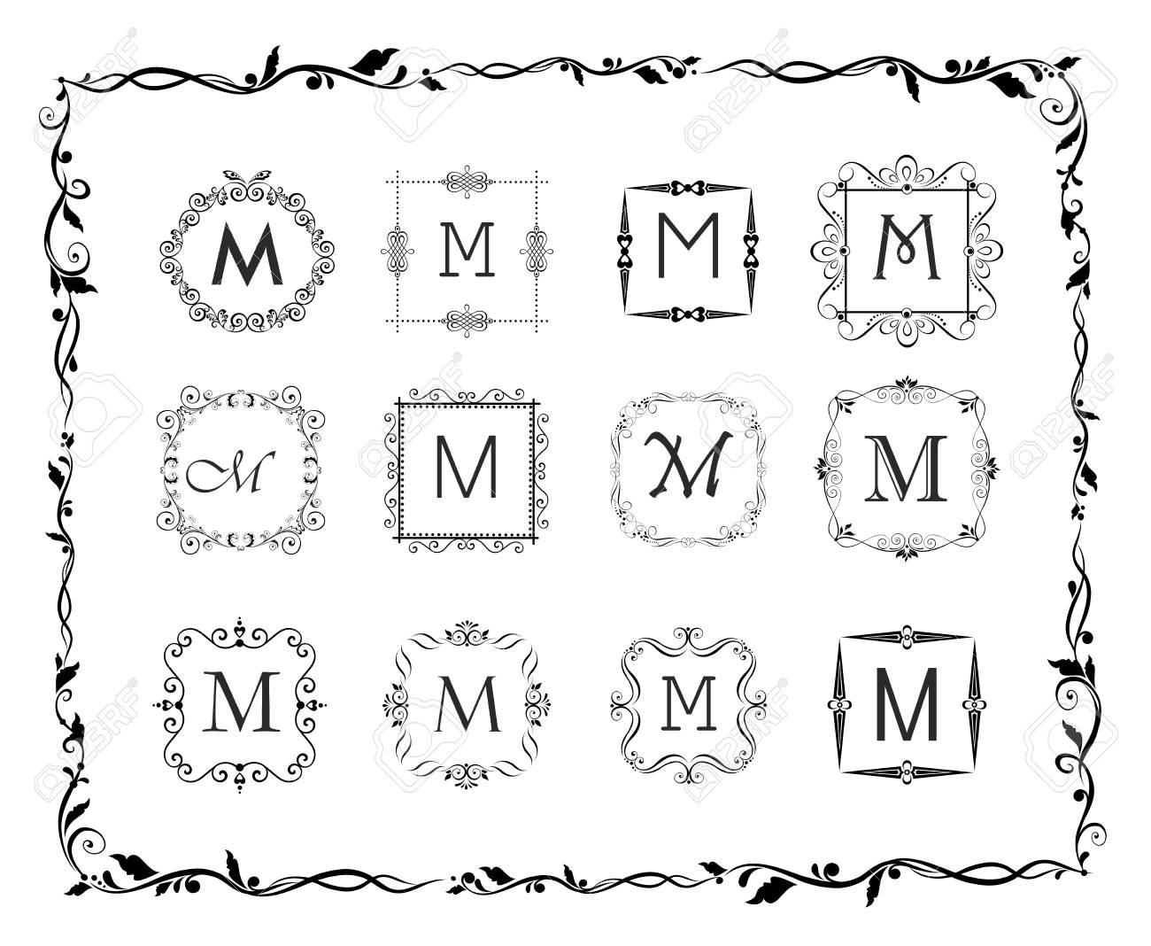 Colección De Hermosos Cuadros Para Monograma, Diseño De La Boda ...