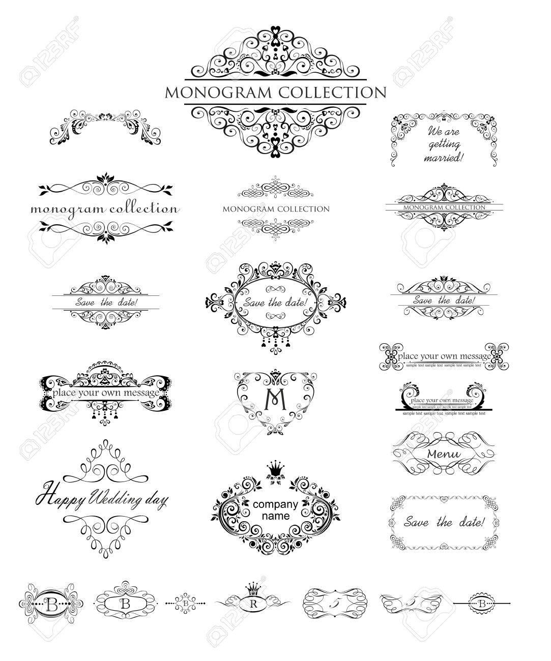 Set Von Vintage-Frames Und Header Für Hochzeit Design, Menükarte ...