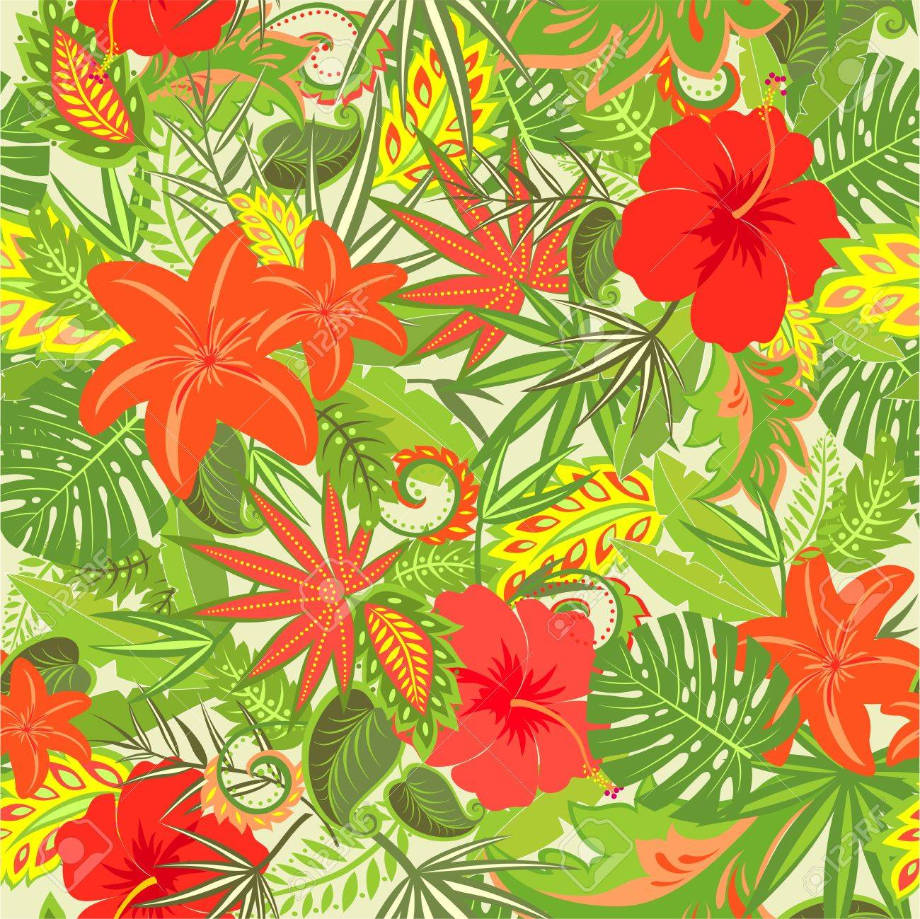 Summery Tropical Floral Wallpaper Royalty Free Cliparts Vectors