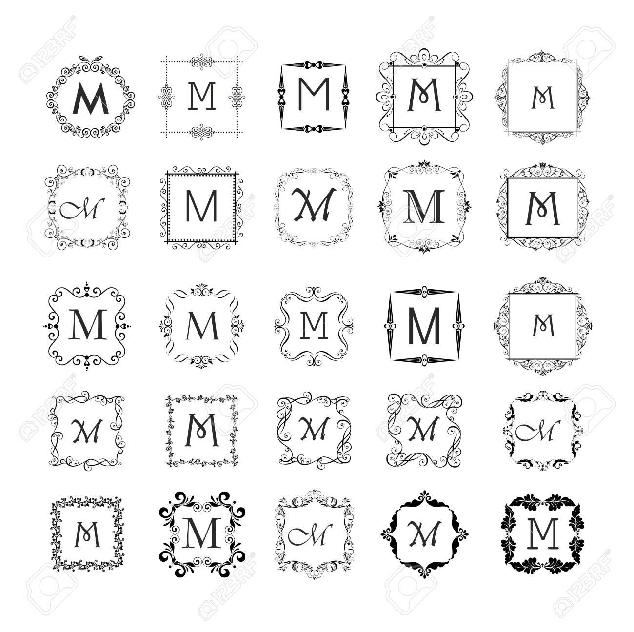 Colección De Marcos Vintage Para Monograma, Diseño De La Boda ...