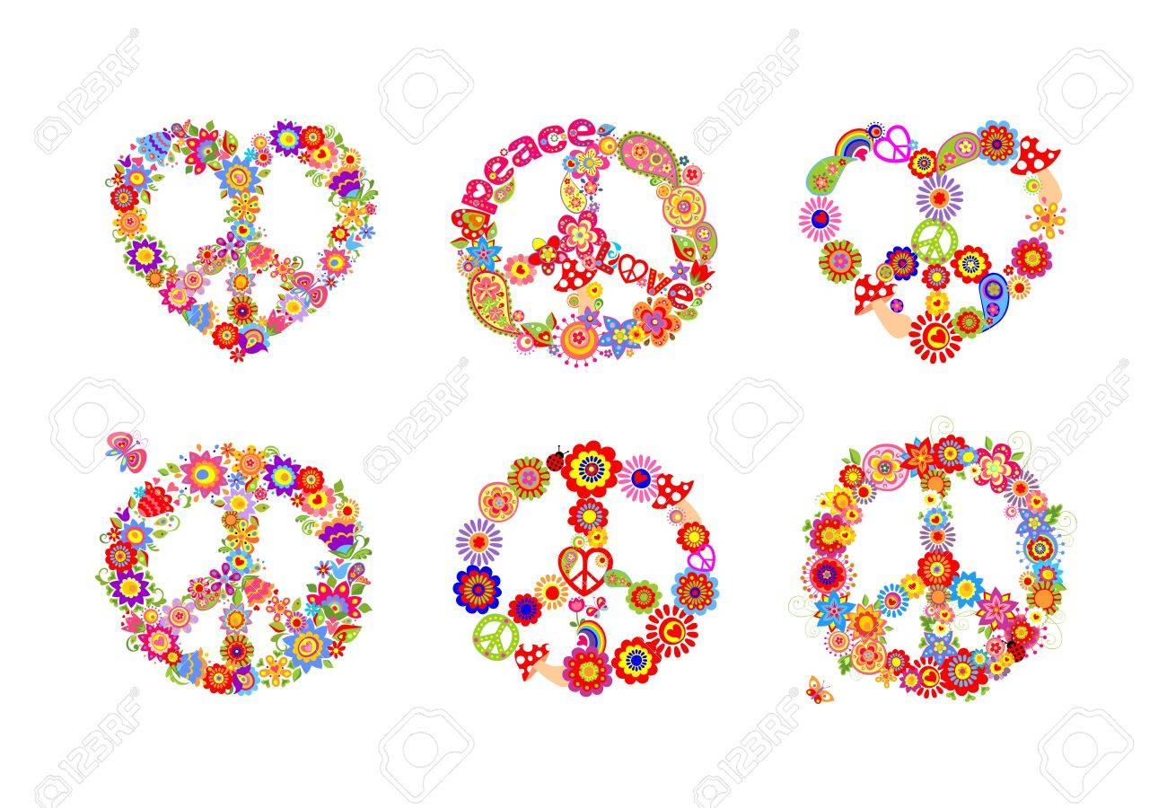 Hippie Peace Flowers Symbols Collection Royalty Free Cliparts