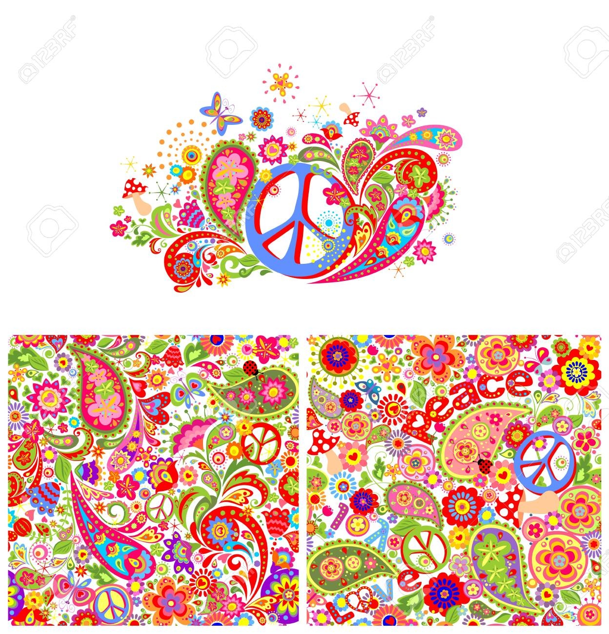 T-shirt print with hippie peace symbol and hippie wallpaper with colorful abstract flowers,