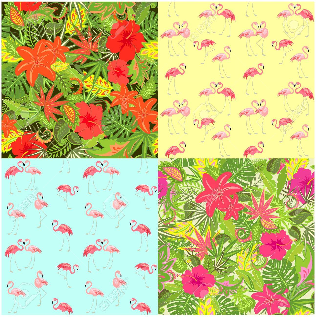 Fashion summery wallpapers with exotic flowers tropical leaves and fashion summery wallpapers with exotic flowers tropical leaves and flamingo seamless background for fabric mightylinksfo