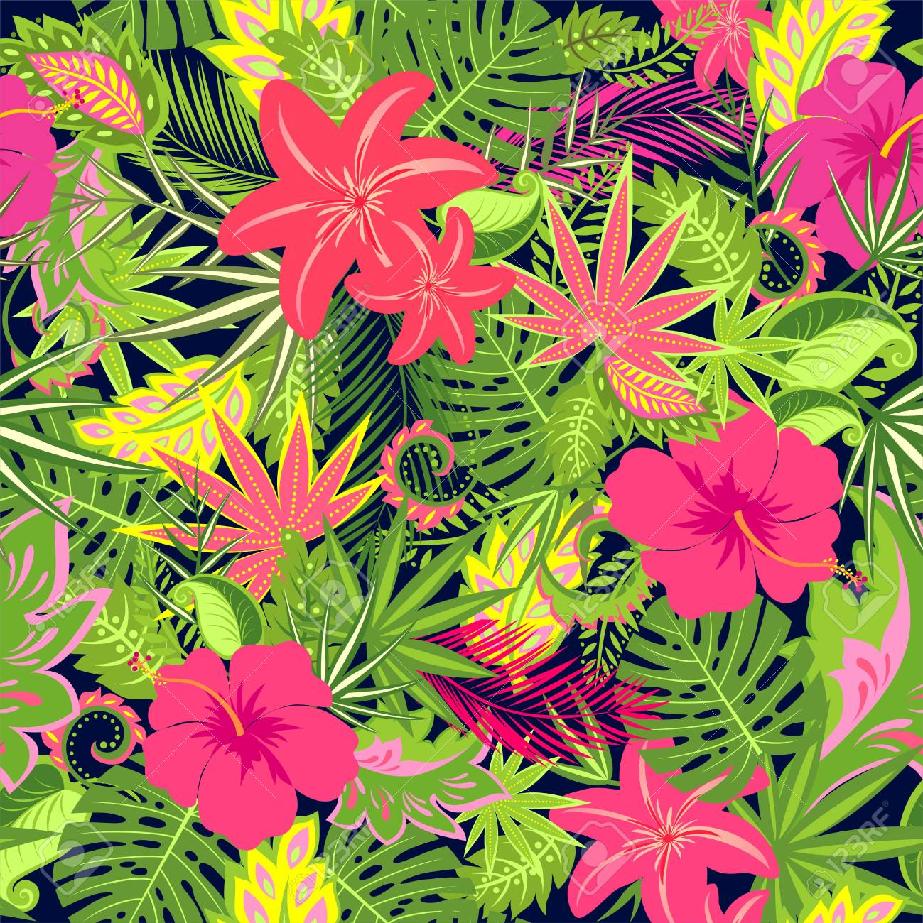 Seamless Floral Wallpaper With Exotic Flowers Palm Leaves And