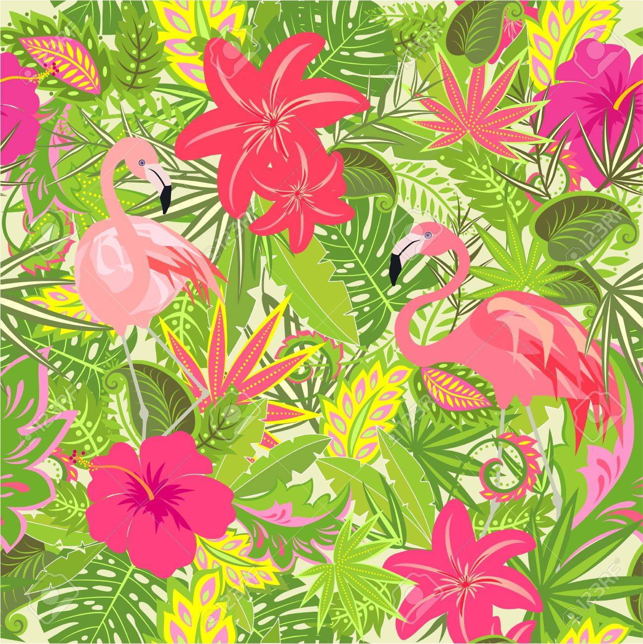 Wallpaper with exotic flowers tropical leaves and flamingo for wallpaper with exotic flowers tropical leaves and flamingo for fabric textile wrapping paper mightylinksfo