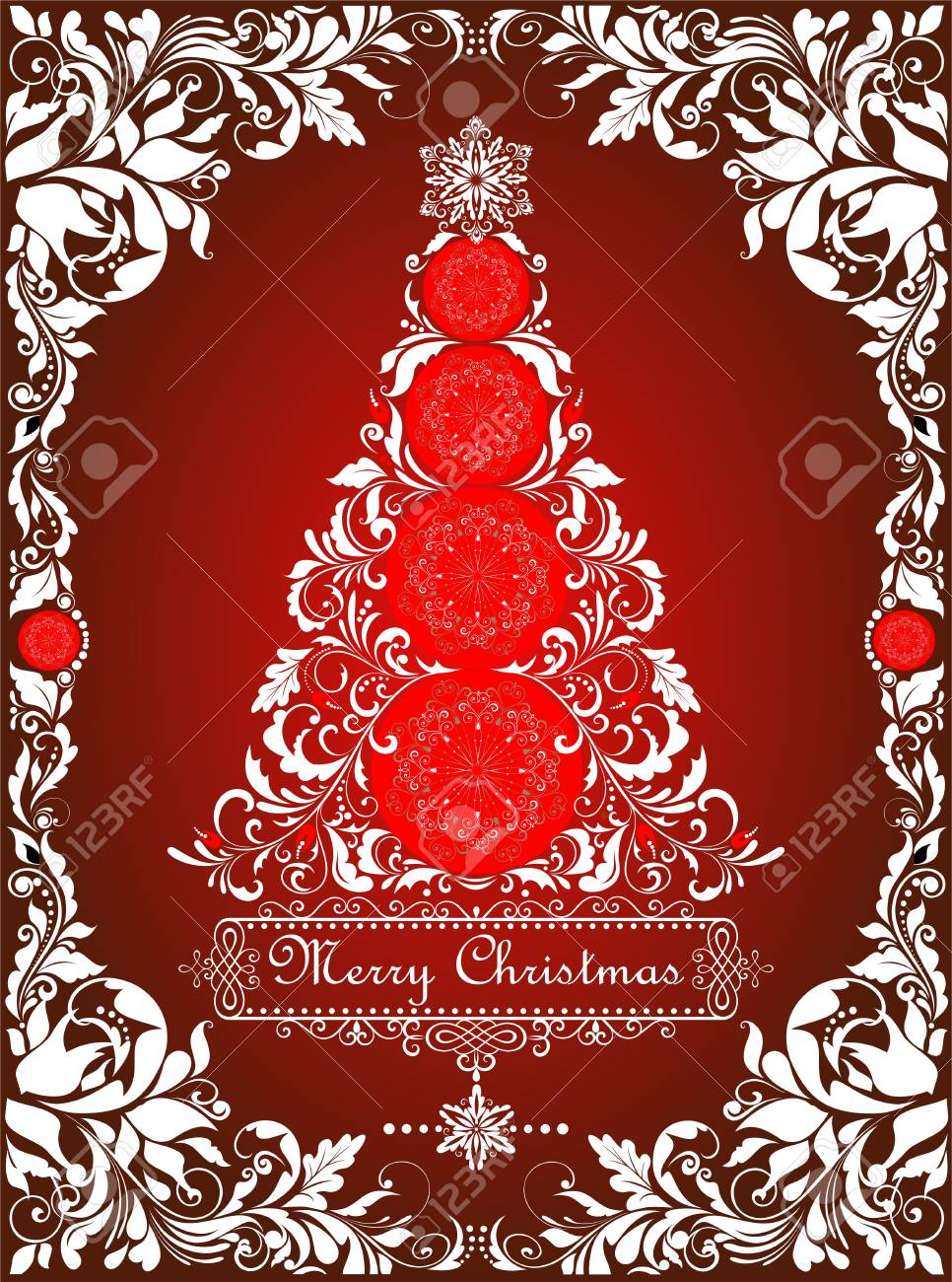 Red Vintage Christmas Card With Cut Out Paper Christmas Tree Royalty Free Cliparts Vectors And Stock Illustration Image 93783528