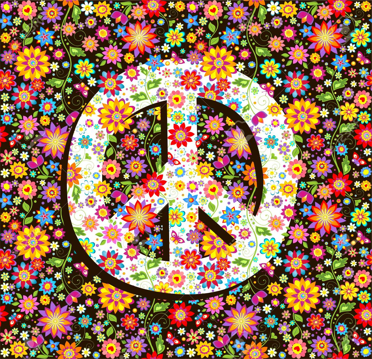 Hippie wallpaper with flowers print and peace symbol. Stock Vector - 94649507