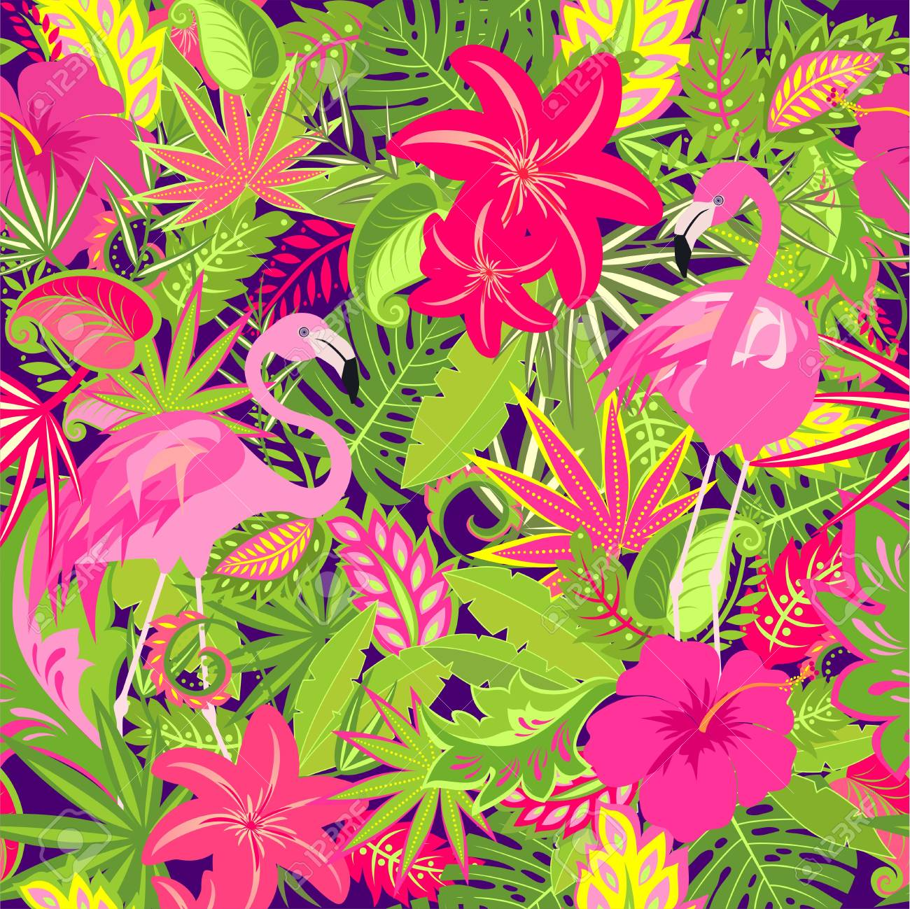 Colorful Wallpaper With Exotic Flowers Tropical Leaves And Pink
