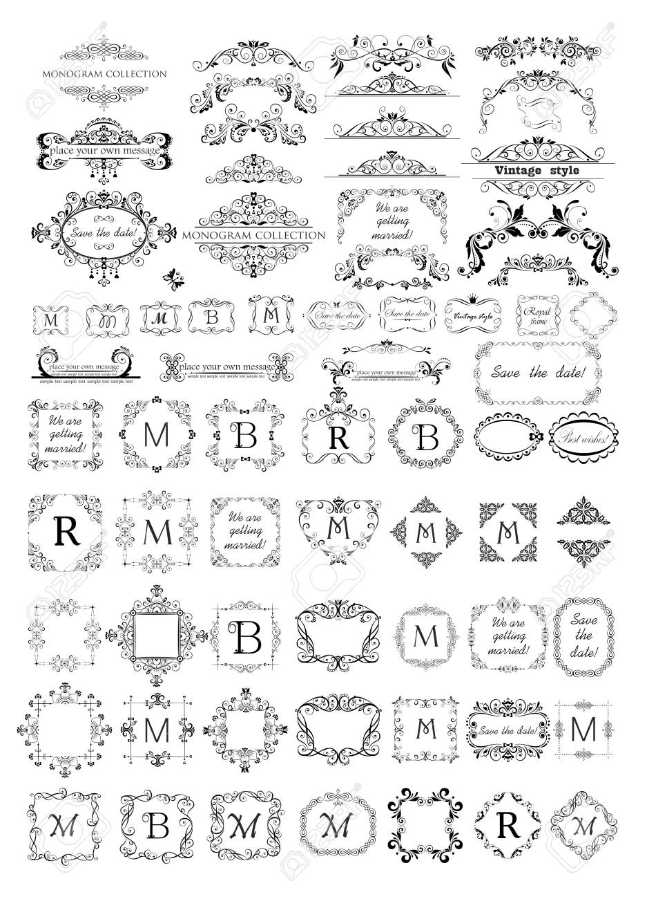 Collection Of Beautiful Frames Vignettes And Headers For Monogram Royalty Free Cliparts Vectors And Stock Illustration Image 102795558
