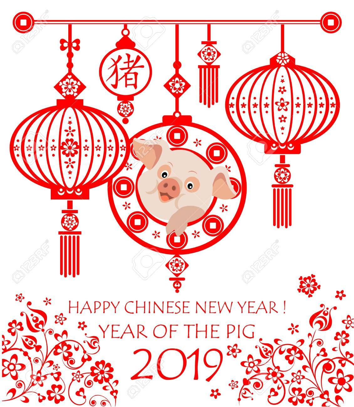 Greeting Card For 2019 Chinese New Year With Funny Little Pigs