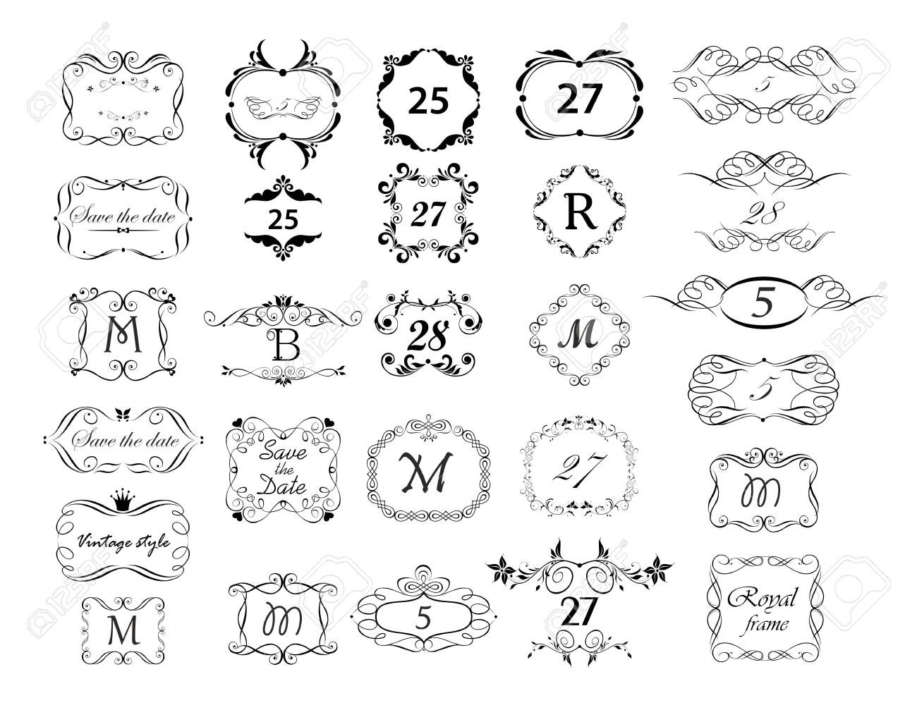 Vintage page ruler, dividers, title and headers vector set. Black and white retro design - 121232149