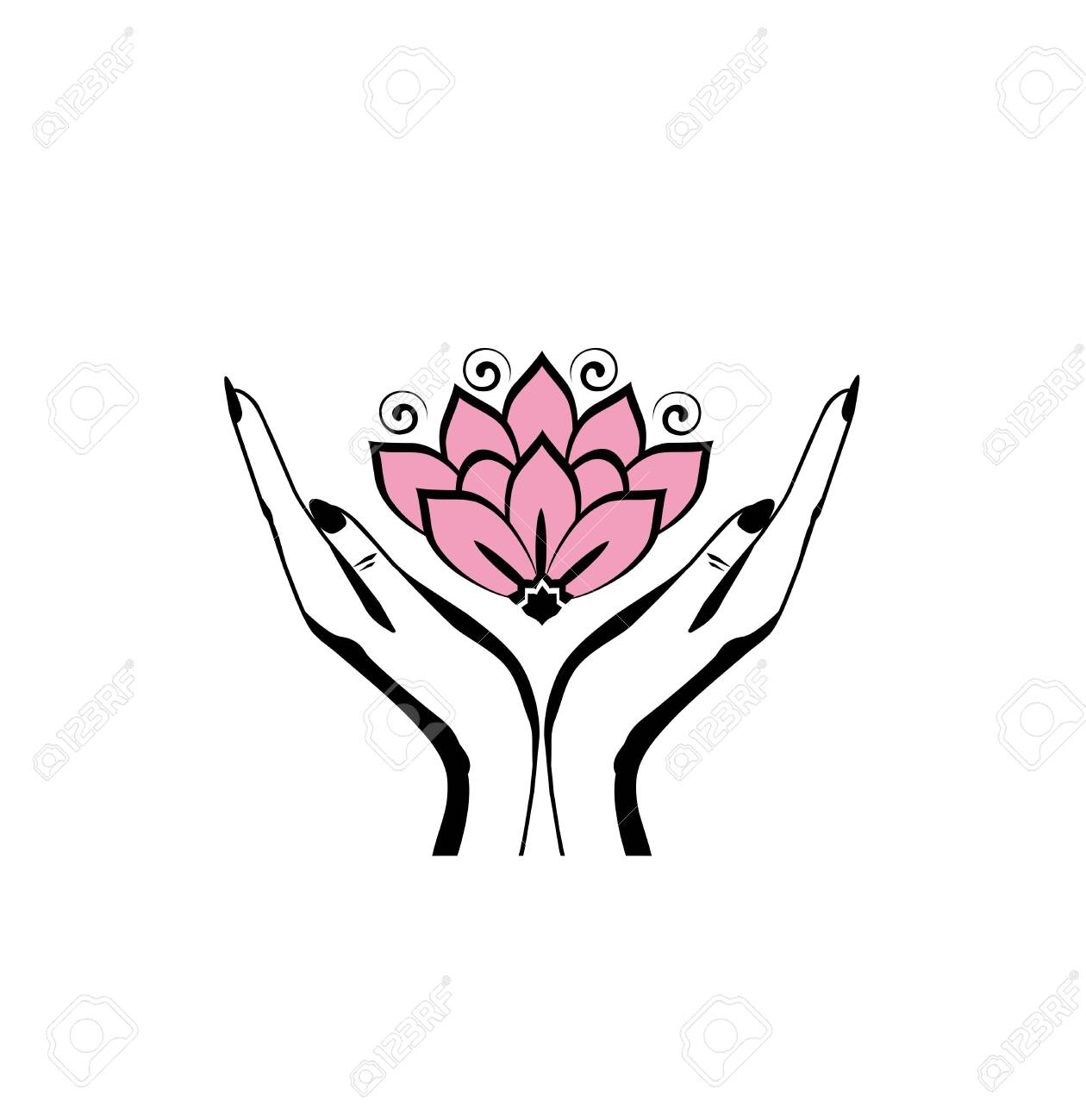 Female hands holding a beautiful pink lotus flower for logo design - 124401419