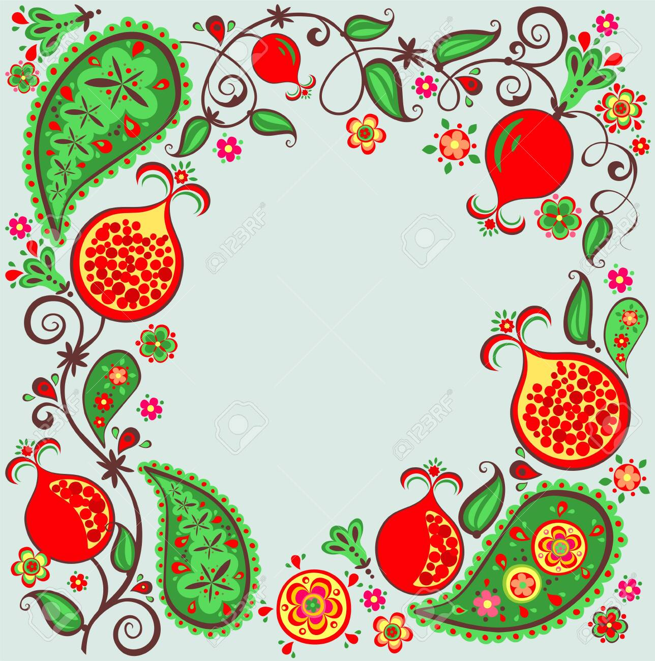Pomegranate Tree Fruit Flower And Paisly Royalty Free Cliparts Vectors And Stock Illustration Image 124401422
