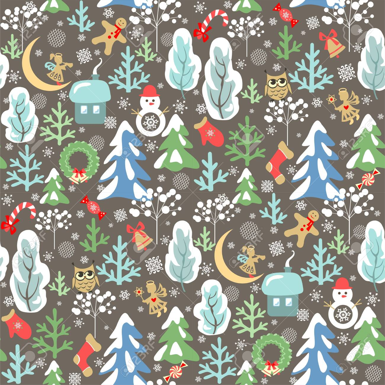 136606778 childish funny christmas wallpaper with seamless pattern with little angels owl and snowman snowy fi