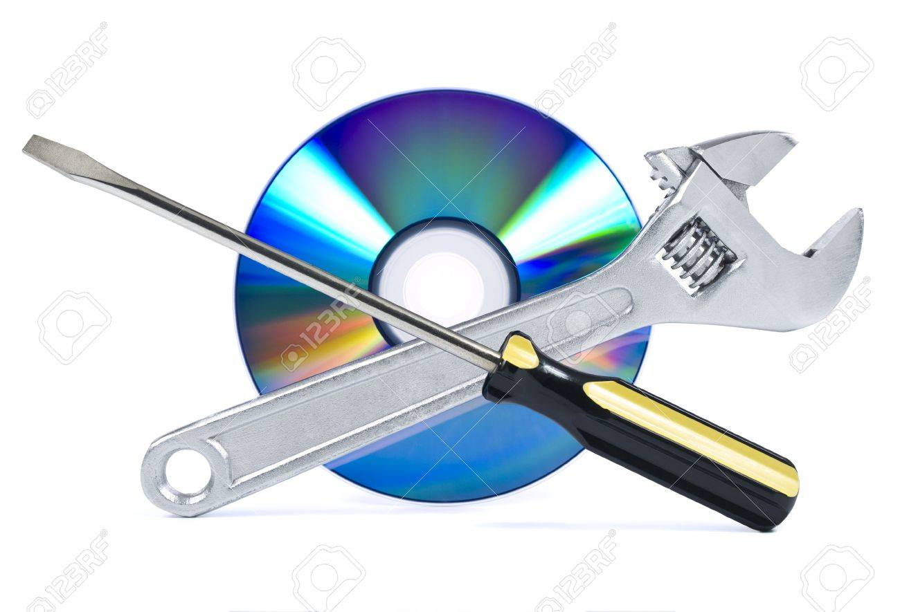 Technical support, fixing problems icon. A spanner, a screwdriver and a digital disc. Stock Photo - 4736958