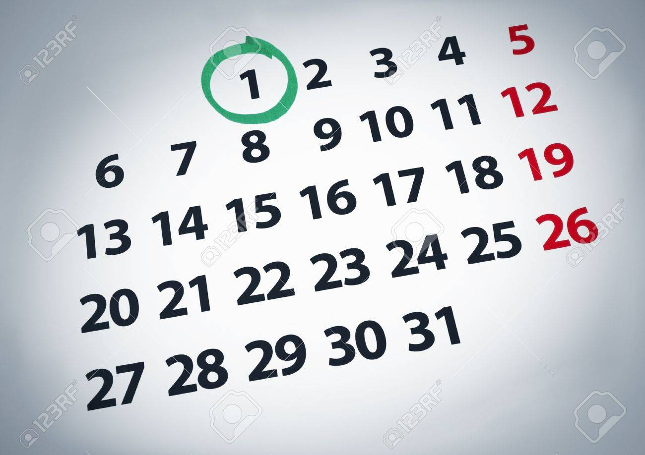 Calendar Date Circled a Date Circled on a 1st Day of