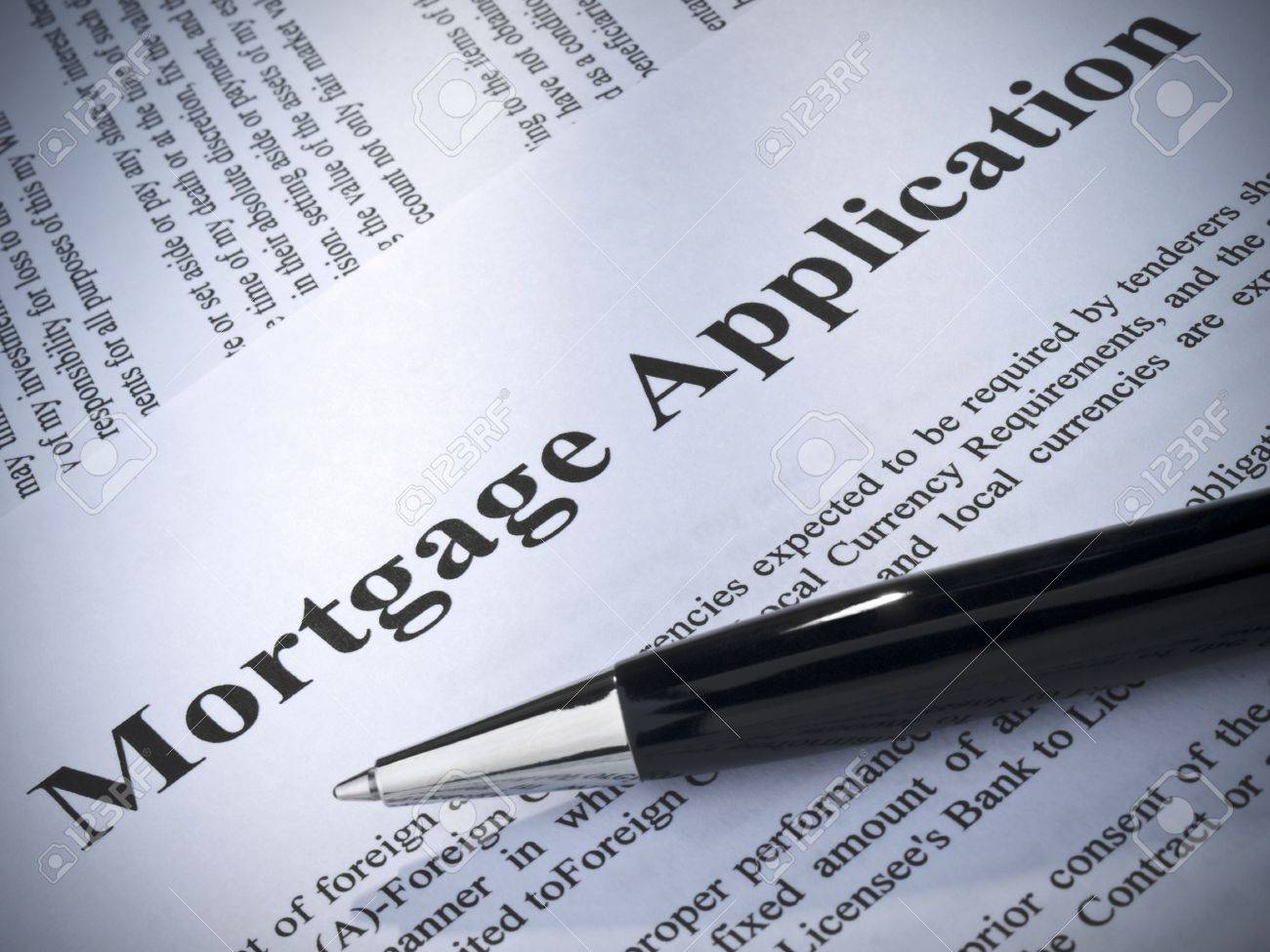 Close up of a mortgage application and a pen. Stock Photo - 6398352