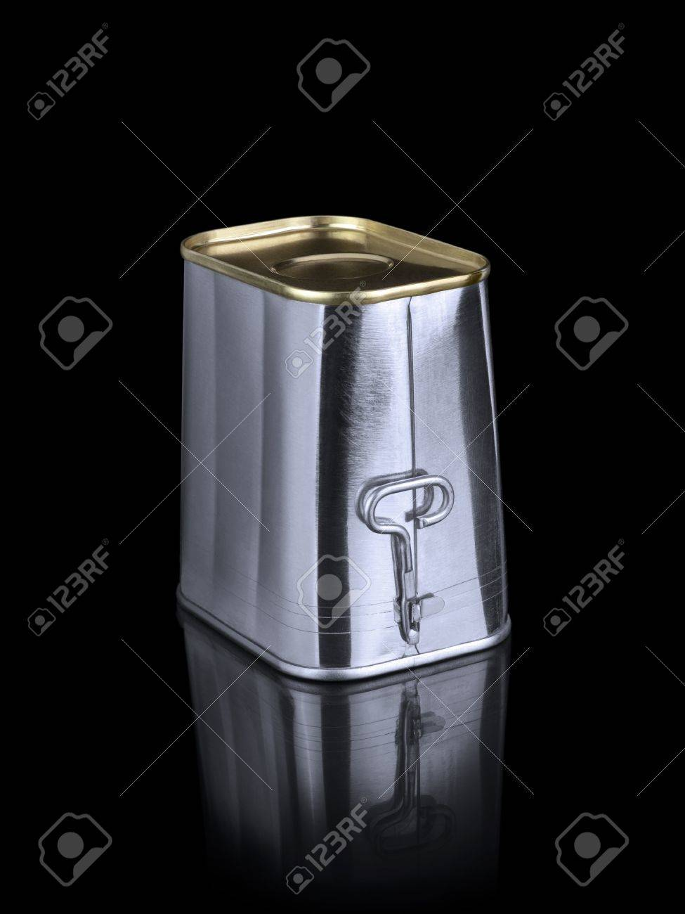 A can of spam holds its opener. Isolated on black. Stock Photo - 10269699