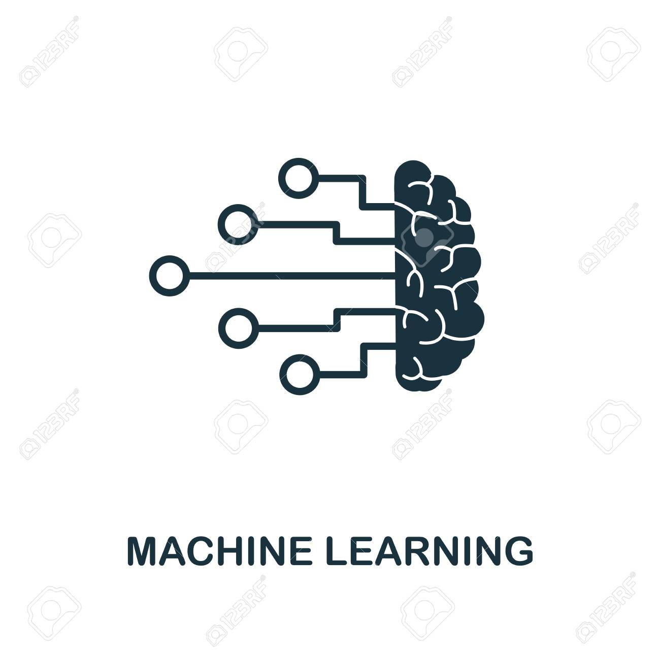 Machine Learning Icon Monochrome Style Design From Machine Learning