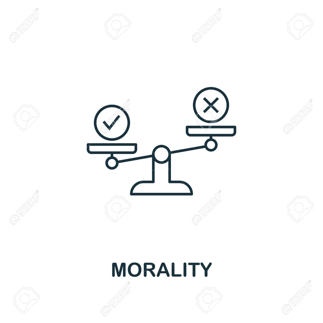 Morality icon. Thin line design symbol from business ethics icons collection. Pixel perfect morality icon for web design, apps, software, print usage. - 120744113